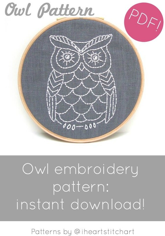 Pdf embroidery pattern owl hand diy