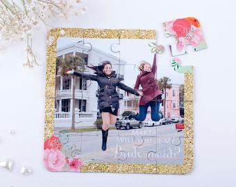 Photo Puzzle Bridesmaid Invitation, Custom Will You Be My Bridesmaid Puzzle, Asking Bridesmaid Proposal Wedding Invitation