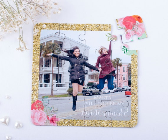 Photo Puzzle Bridesmaid Invitation, Custom Will You Be My Bridesmaid Puzzle, Asking Bridesmaid Proposal Wedding Invitation