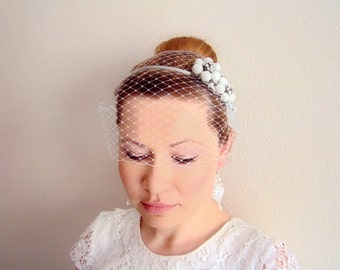 Birdcage Veil, Vintage Style Pearl Floral Headband, Veil with Headband , Floral Fascinator - Flower Headpiece - FIONA
