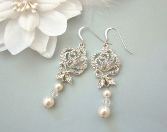 Pearl Earrings - Pearl Drop earrings - Pearl Dangle Earrings - Pearl Bridal Earrings - Pearl Wedding Jewelry - ROSA