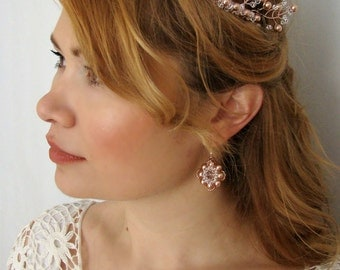 Rose Gold Hair Accessories, Rose Gold Hair Comb, Rose Gold Bridal Comb, Rose Gold Bridal Hair Comb, Head Piece, Rose Gold Bridal Headpiece