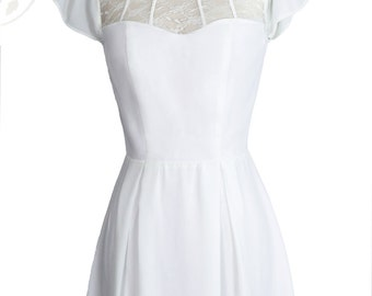 Ophelia Lace Vintage Inspired Dress//White//White Lace Mesh// Sleeves//Custom