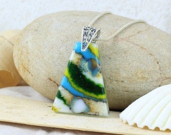 Green, Yellow and Turquoise Fused Glass Pendant - Glass Jewellery - Necklace - Fused Glass Jewelry - JBT250
