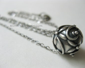 Balinese oxidized Sterling silver raised scroll bead sterling silver pendant necklace|Bali bead|silver necklace| Bali bead pendant