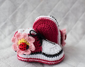 Baby Girl Converse, Crochet Sneakers, Baby Girl Shoes, Baby Girl Sneakers, Girl Shoes, Ladybug Shoes, Baby Shower Gift, Red Crochet Booties
