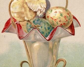 Vintage Easter egg chick greeting card postcard digital download printable instant image