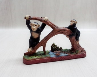 Resin Figurine with Monkeys, Two monkeys on the tree, Kids Room Decoration, Nursery decoration