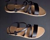 Leather sandals, greek sandals, women sandals, open toe sandals, black sandals, strap sandals, comfortable sandals, unique sandals