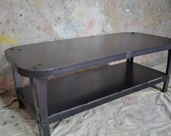 Industrial Coffee Table Natural Steel Finish