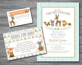 Woodland Baby Shower Invitation, woodland theme, woodland animal, gender neutral, printable, DIY printing, book request card, diaper raffle