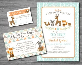 woodland baby shower invitation digital invite with forest animals creatures fox