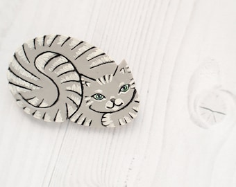 Gray Kitty Cat Brooch Pin