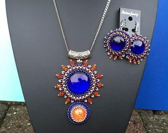 Deep Blue & bright Orange jewellery set