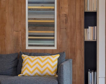 """Large Reclaimed Wood Wall Art in Mustard, Gray and Blue - 40"""" x 15"""" x 2"""""""