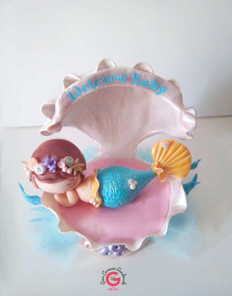baby shower cake topper baby mermaid by ginacarrascohandmade