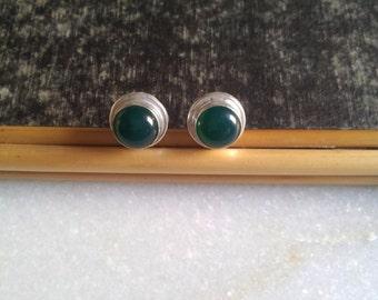 Green Onyx Stud Earring Silver Stud Earring Stone Stud Gemstone Stud Minimal Stud Earring Gift