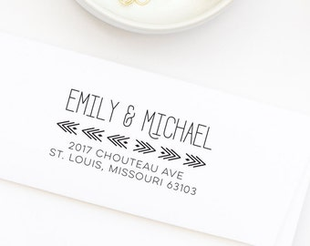 Return Address Stamp | Wedding Address Stamp | Personalized Address Stamp | Housewarming Gift | Arrow Stamp | Save the Date | Style No. 140