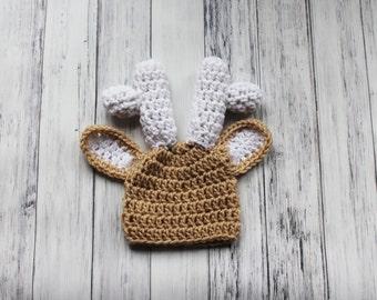 Newborn Deer Hat, Baby Deer Hat, Crochet Baby Hat, Crochet Deer Hat, Infant Deer Hat, Baby Deer Beanie, Crochet Newborn Hat