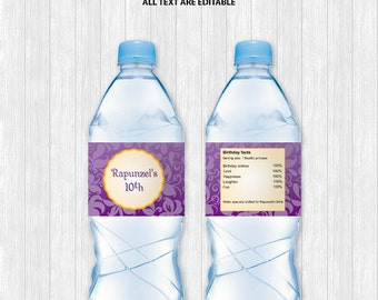 Rapunzel Water Bottle Labels