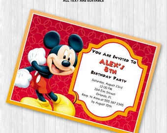Mickey Mouse Party Invitation