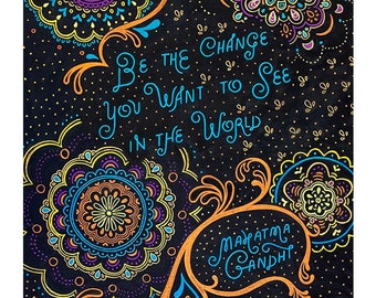 """Mahatma Gandhi   Print Chalkboard Quote """"Be the change you want to see in the world."""" (English or Spanish) (S, XL)"""