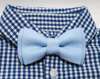 Light Blue Cotton Kids Bow Tie. Newborn Bowtie. Boys bowtie. Mens bowtie. Wedding bowtie. Gift. Photo shoot