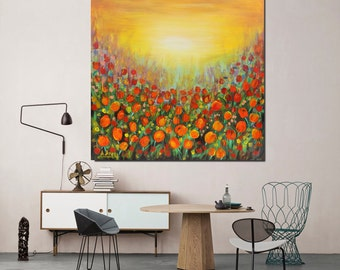 Original landscape tulips modern art painting flowers artwork red green yellow landscape with flowers free shipping anywhere in the world