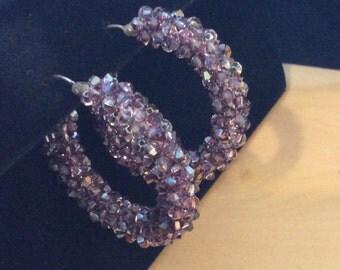 Swavorski crystal hoop earrings