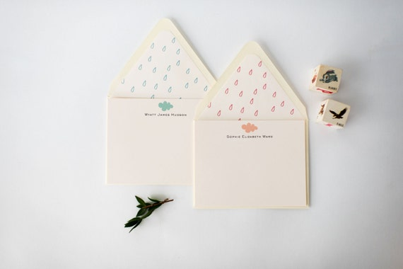 personalized baby cards +  lined envelopes (sets of 10)  // lola louie paperie