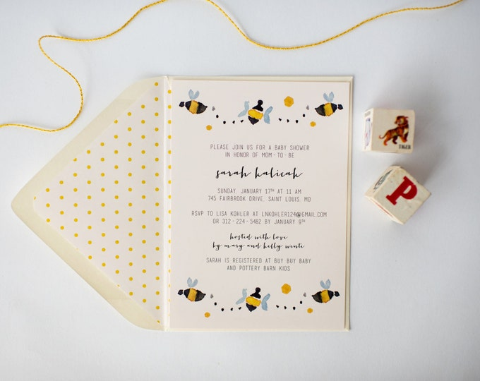 bees baby shower invitation  (sets of 10)  //  lola louie paperie