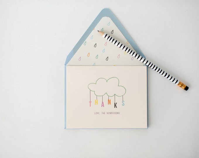 personalized baby shower thank you cards +  lined envelopes (sets of 10)  // rain drop cloud boy girl blue pink gender neutral shower card