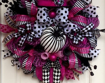 Halloween Pink & Black Deco Mesh Witch Wreath, Fall Wreath, XL Witch Wreath, Witch Legs Hat, Halloween Decor, Harlequin Witch