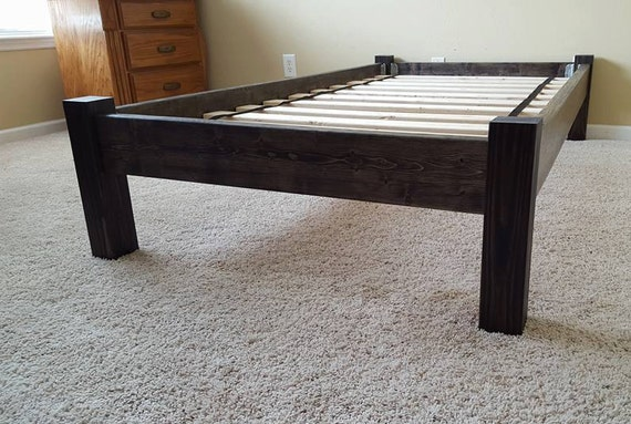 Platform bed bed frame four post platform bed by peacelovewood for Short twin bed frame
