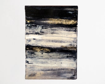 Black, Gold and White Textural Abstract Painting Wall Art Hand Stretched Canvas 25.5 x 36cm