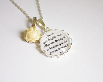 North & South quote necklace. Elizabeth Gaskell. Mr. Thornton. Margaret Hale. Literature. Book lovers