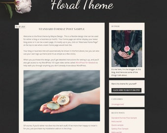 Floral website and blog design (a pre-made WordPress theme)