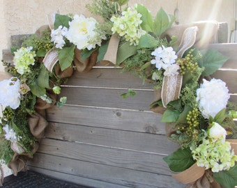 8' Wedding Floral Garland Hydrangea Garland Peony Garland Burlap Garland Greenery Garland Wedding Decor Summer Garland Everyday Garland