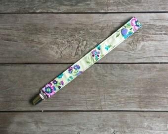 Modern Green & Purple Dummy Clip - Pacifier Clip - Toy Clip
