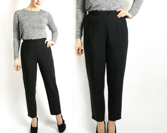Vintage 90's Black Wool Blend High Waisted Pants Trousers