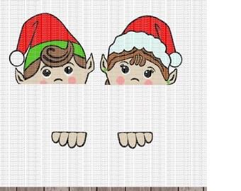 Set of PeekaBoo Elf Faces Digital Design - Instant Download