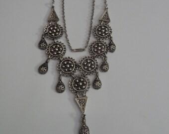 Vintage Chandelier Bib Necklace Silver Tone Dangle Necklace