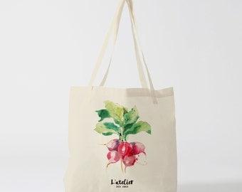 X76Y tote bag vegetable radish, market bag, bag races, bag courses, changing bag, computer bag, bag in canvas, cotton bag, vegetable