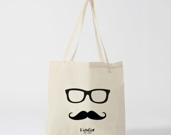 X451Y Tote bag bezel mustache, canvas bag, shopping bag, handbag, bag, shopping, bag of course, market bag, beach bag