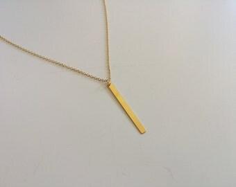 Gold-filled vertical bar pendant necklace