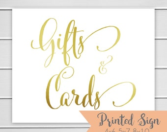 Gifts & Cards Sign, Gold Foiled Wedding Sign, Wedding Card Table Sign 4x6 5x7 or 8x10 (S56-CN)