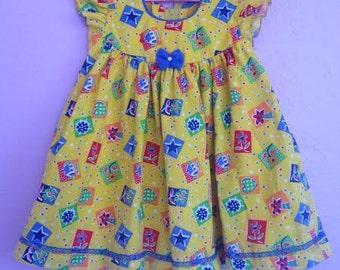 Vintage Party Dress. Vintage Yellow Dress. Vintage Yellow Print Party Dress. Birthday Party Dress. Sunshine Yellow Vintage Dress. Vintage 2T
