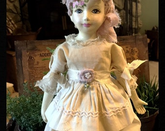"Beautiful Hand Painted Vintage Porcelain Doll ""Annabell"""