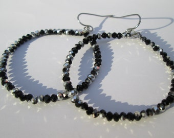 Black and Silver Hoops