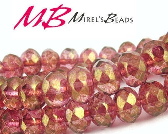 15 pcs Pink Luster Czech Glass Beads, 8x6mm Faceted Pink Rondelle